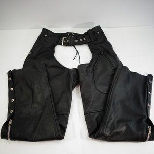Unik Premium Black Leather Motorcycle Chaps